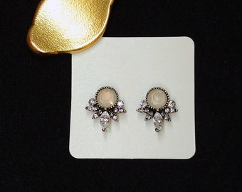 Clear Crystals on Silver Studs