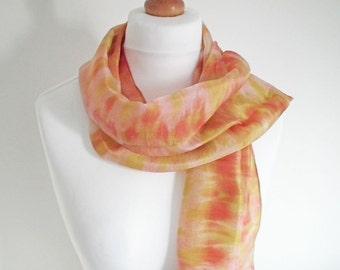 Hand-dyed Silk Scarf, Shibori Dyed Silk, Long Silk Scarf, Silk Habotai Scarf, Gold, Green, Red, OOAK Scarf, UK Seller