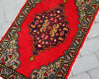 Small rug. Oushak small rug. Decorative small rug. Hand made rug. Turkish small rug. Door mat. 052x090cm
