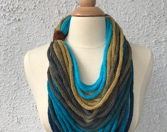 Knitted Womens Scarf Neckwarmer Necklace Light and Simple Teal Green Brown and Aqua