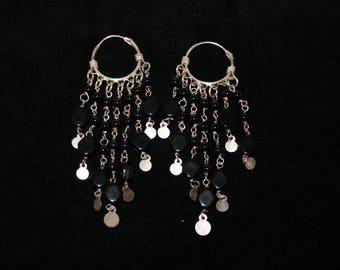 Pure silver,Black semiprecious stones chandelier earring.
