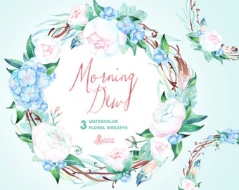 Morning Dew. 3 Watercolor wreaths, wedding, invitation, floral frame, greeting card, diy, flowers, peonies, mint, blue, quotes, holiday