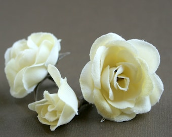 12 Small Butter Cream Silk Roses - Artificial Flowers, Silk Roses PRE-ORDER