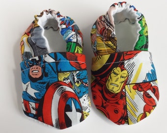 BOGO - code BOGO7 Superhero moccasins,  superhero crib shoes, superhero bsby shoes,  superhero soft sole shoes, superhero baby shoes