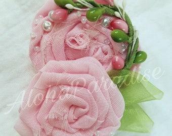 Gail's Pink Rose Duo Hair Flower Piece