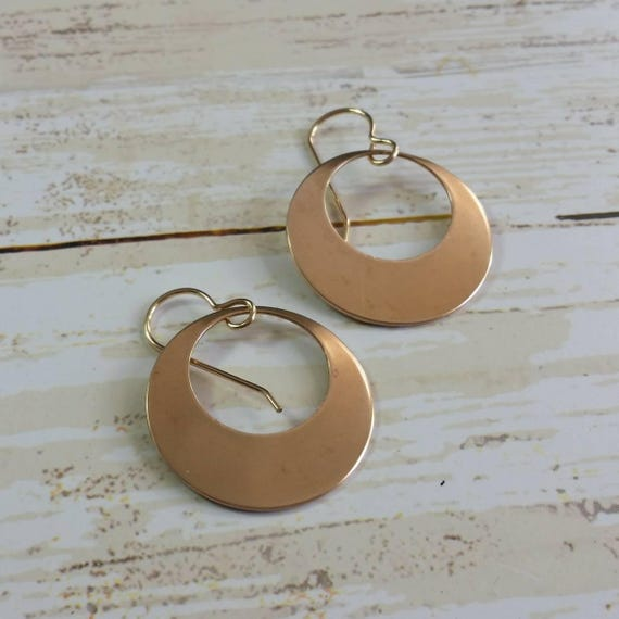 Bronze Disk Earrings Hoop Dangle Earrings