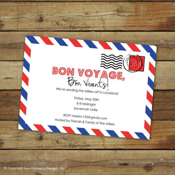 Custom Bon Voyage Party Invitation Goodbye Party Airmail - Bon voyage party invitation template