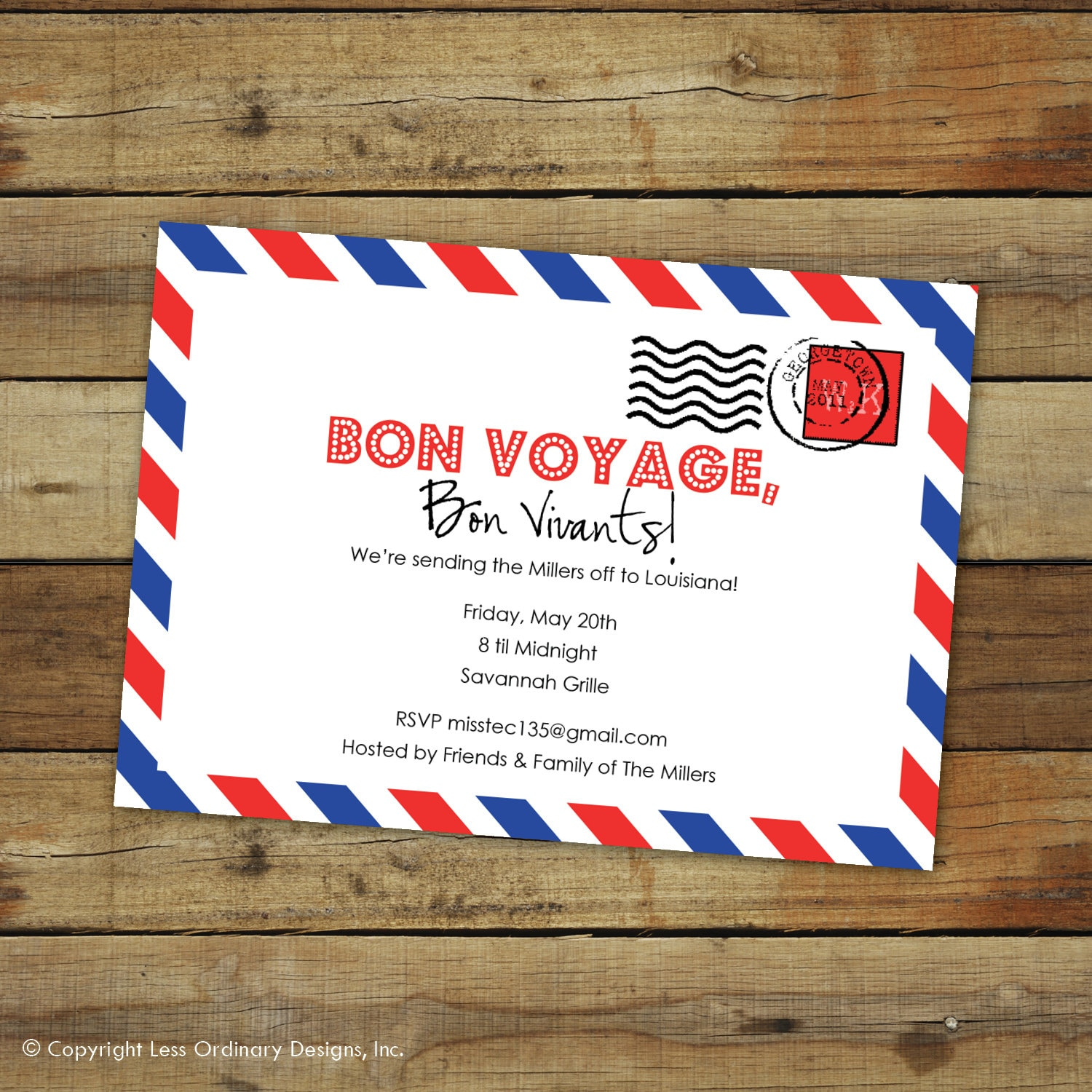custom bon voyage party invitation goodbye party airmail