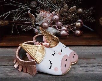 Rose Gold Unicorn Moccasins, Rose Gold Fringe Leather Baby Moccasins, Baby Girl Shoes, Unicorn Baby Shoes, Princess Shoes, Baby Shower Gift
