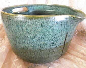 Gorgeous! Vintage Wabi-Sabi, One Gallon Japanese Pottery Pitcher or Batter Bowl, Beautiful Speckled Glaze, Easy Pour Spout, Unique Handle,