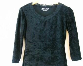 Vintage 90s Black Velvet Mini Goth Dress