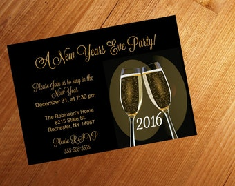 Printable, New Years Eve Party invitation, Black and gold, Personalized, Ring in the New Year 5x7, card