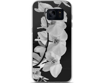 Black and White Orchid Samsung Case