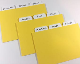 4x6 Dividers for Recipe Cards - Sunshine Yellow