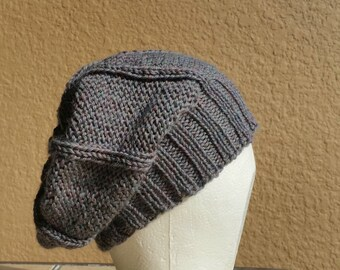 Slouch Hat beanie stocking cap or beret silver, grey, gray, red, hand knit with textured stitch details