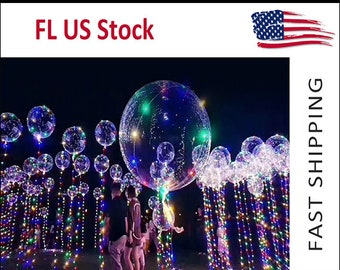 One 18inch Clear Balloon LED : Transparent helium Birthday, Easter, bat. inc.