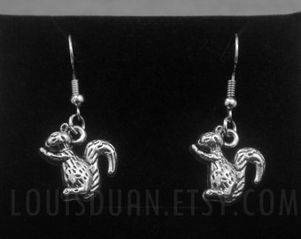 Tiny Squirrel Earrings -Silver Cute Squirrel Earrings -Animal Jewelry