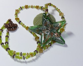 Lampworked Green Pendant Star on Copper & Green Beaded Handmade Necklace