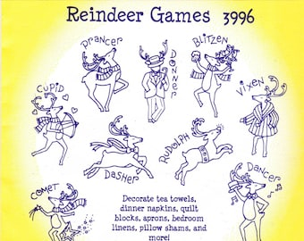 Aunt Martha's hot iron transfers #3996, Reindeer Games