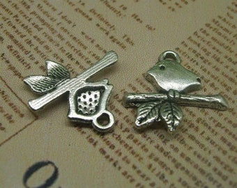 Little Bird On Branch Silver Charm *25 Pieces