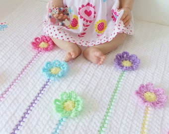 Crochet Blanket Pattern - Rainbow Daisies Blanket and Hat Crochet Pattern 7 sizes from Preemie 5 Years Chenille Baby Blanket and Hat pattern