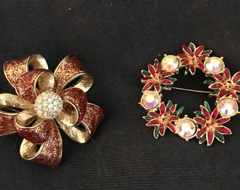 Two Vintage Ruby Red & Rhinestone Broaches