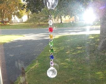 Rainbow Crystal Prism Suncatcher; Rear View Mirror Car Charm; Chakra Decoration; Hanging Garden Art or Window Decor (#7)