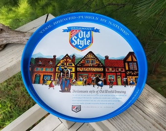 Heileman's Old style Round Metal Beer Tray The Genuine Old Style Beer