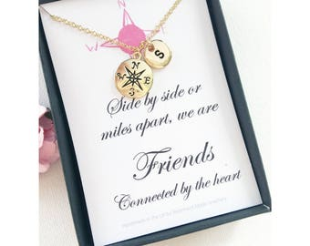 Compass Necklace, compass jewellery, compass pendant, gold compass, message card, gold compass travel jewelry, friends close at heart,