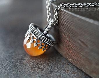 Carnelian Gemstone Bullet Pendant Necklace