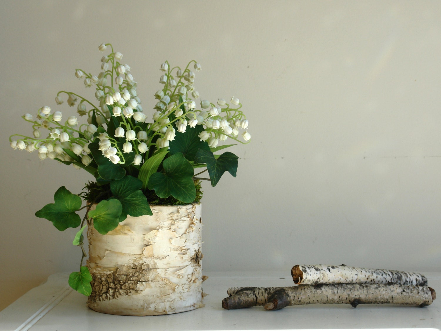 Lily of the valley birch bark vases arrangement home decor zoom reviewsmspy