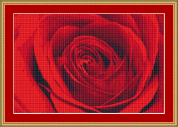 Red Rose Cross Stitch Pattern /Digital PDF Files /Instant downloadable