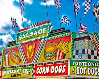 Food and Snacks Vendor Fine Art Print- Carnival Art, County Fair, Nursery Decor, Home Decor, Children, Baby, Kids