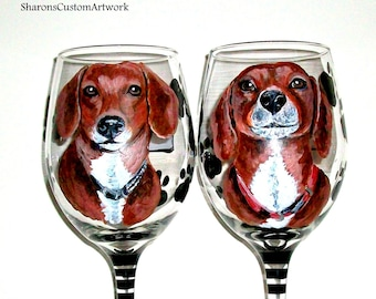 Pet Portraits Hand Painted Wine Glasses Custom Doxies Dog Cat Horse Pets Dog Lover Christmas Gift Birthday Gift Dachshund Glassware