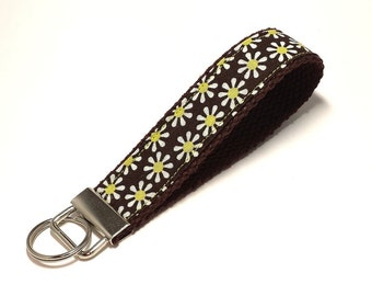 FREE SHIPPING UPGRADE with minimum -  Key Lanyard - Key Fob - Fabric Key Ring -- Lime Daisies