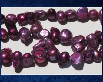 "Pearl, Dark Pink - 16"" strand of small double baroque freshwater pearl beads.  #PERL-321"