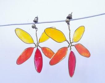 Orange stained glass Flower Earrings