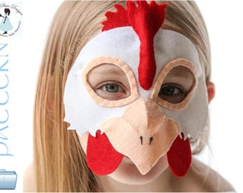 Chicken Mask PATTERN.  Digital Sewing Pattern - Kids Chicken Costume.
