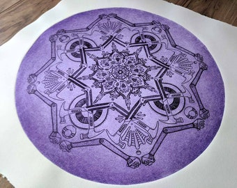 Tools Mandala Etched Print- wall art- modern art print - Purple art print- Large Print