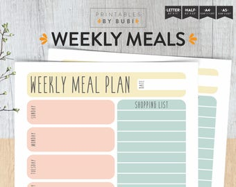 Weekly Meals Menu Planner Printable Food Planner Meal Planner Grocery List / A5 A4 - Half Size- Letter Size - Instant Download PDF