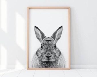 Rabbit Print, Black And White Bunny Print, Woodlands Rabbit Art, Bunny Printable, Black And White Nursery Wall Art, Rabbit Wall Decor