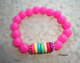 Pink bracelet, translucent and colored beads for women