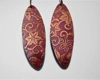 Morning Glory Print Etched Copper Dangle Earrings