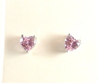 Pink Heart CZ Sterling Silver Stud Earrings  Small Heart Earring Pink Heart Earrings Small Stud Earrings