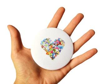 Colorful heart pocket mirror, rainbow colors