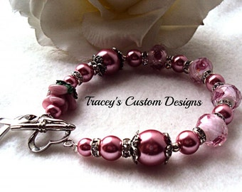 Beautiful Breast Cancer Awareness Bracelet - Custom made jewelry