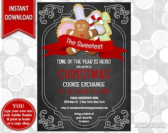 Christmas Party Cookie Exchange | Cookie Swap, Christmas Invitation, Christmas cookie, Holiday Party, Cookie Party, Christmas Cookies