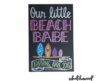 CUSTOM, Hand Lettered PREGNANCY ANNOUNCEMENT Beach Babe | 10x15 black board | chalkboard inspired | our little baby, vacation, hobby, golf
