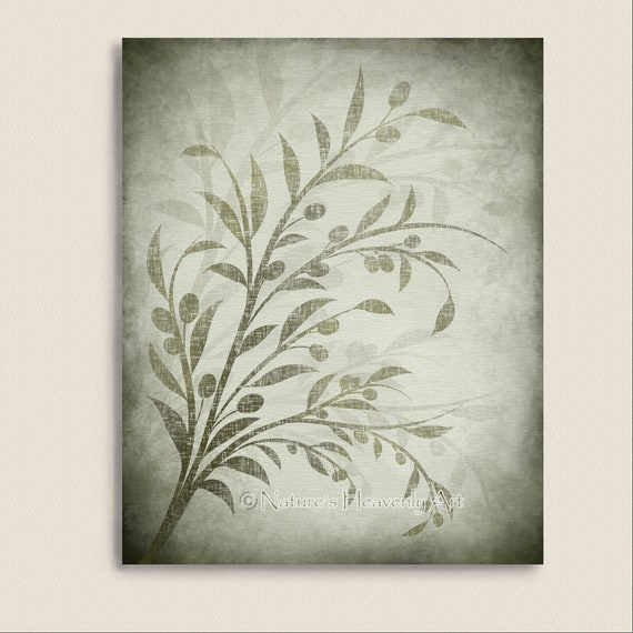 Olive Branch Kitchen Wall Art Green Leaves Earthtones