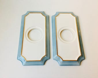 Vintage 80s Door Knob Face Plates/Blue And White Room Decor/Door  Accessories/Alice In Wonderland Theme/Quoizel INC/Door Knob Backplate